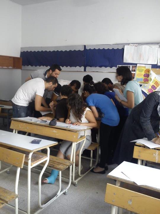 مأخوذة من فايسبوك لإحدى مدارس رأس النبع خلال الإمتحانات الرسمية