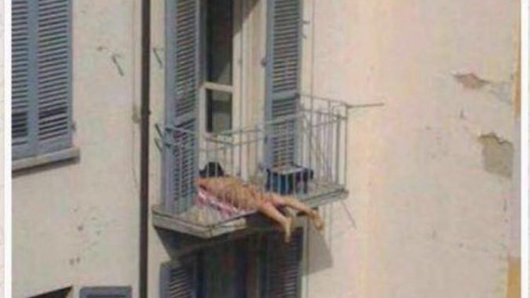 Where was this girl sunbathing?