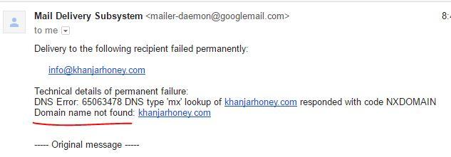 بعد محاولة إرسال رسالة إلى العنوان المذكور - لا يوجد موقع بهذا العنوان